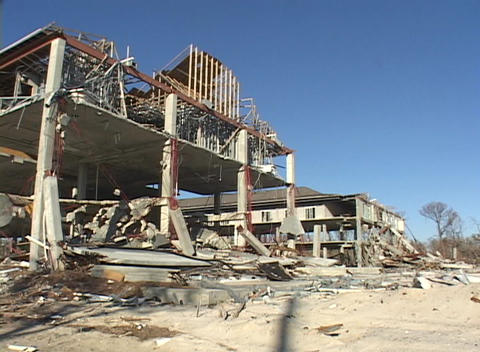Destroyed buildings show the devastation caused by... Stock Video Footage
