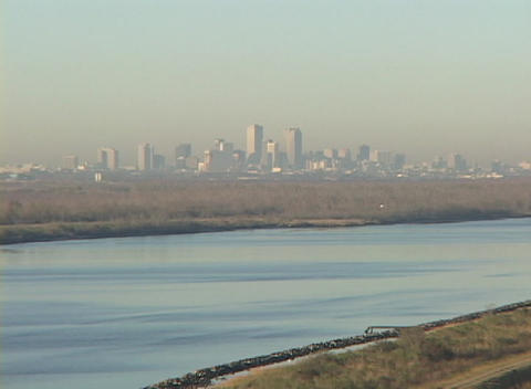 Levees surround and protect the city of New Orleans Stock Video Footage