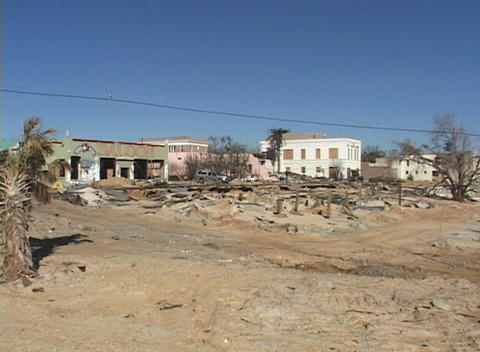 A Mississippi coastal town shows the destruction caused... Stock Video Footage