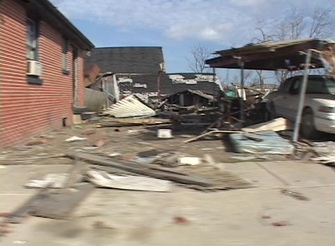 Complete destroyed homes and vehicles show the... Stock Video Footage
