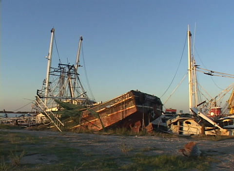 Ruined boats and ships show the destruction caused by Hurricane Katrina Footage