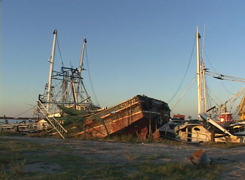Ruined boats and ships show the destruction caused by... Stock Video Footage