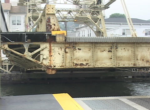 A drawbridge slowly being lowers back down Stock Video Footage