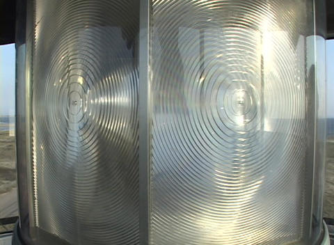 A rotating light in a lighthouse Stock Video Footage