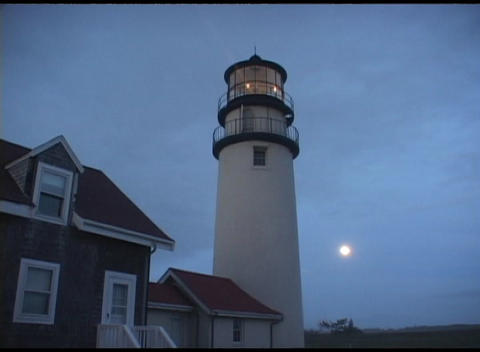 Long-shot of the Highland Lighthouse, Cape Cod,... Stock Video Footage