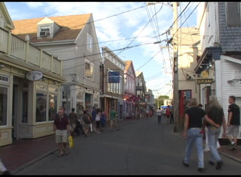 Medium shot of tourists walking on a street in Nantucket,... Stock Video Footage