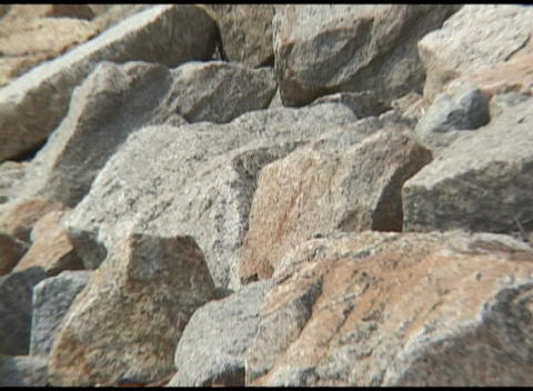 Zoom-out from shoreline stones to the Plymouth Rock Memorial Stock Video Footage
