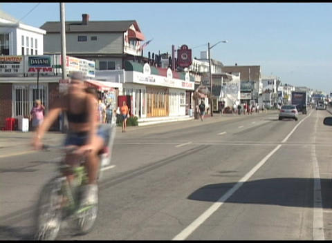 Long-shot of a New England or New Hampshire beach town in summer Footage