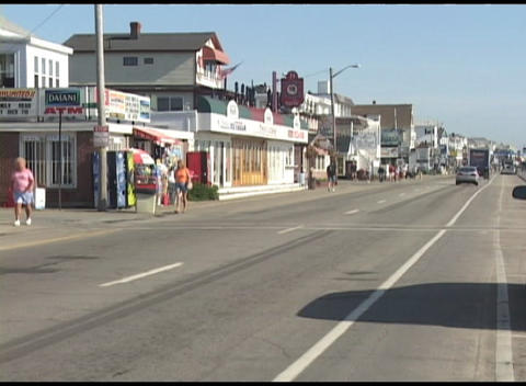Long-shot of a New England or New Hampshire beach town in... Stock Video Footage