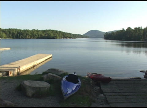 Long-shot of a beautiful lake in Acadia National Park, Maine Footage