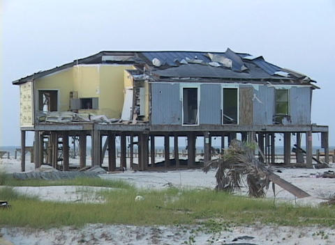 The aftermath of Hurricane Katrina shows in this destroyed beach house Footage