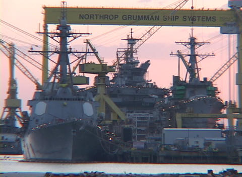 Navy ships sit in a dockyard along the Gulf Coast Footage