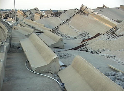 Hurricane Katrina destroys a causeway Stock Video Footage