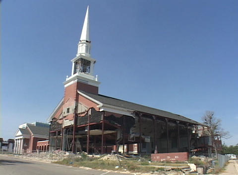 A Baptist Church stands in ruins along the Gulf Coast of... Stock Video Footage