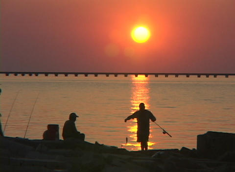 A fisherman catches a fish along the Gulf Coast Footage