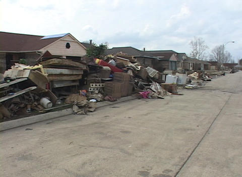 Soaked and destroyed possessions litter a neighborhood following Hurricane Katrina Footage