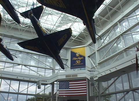 Blue Angels jets hang on display Stock Video Footage