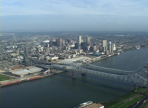 The Greater New Orleans Bridge spans the Mississippi River in New Orleans, Louisiana Footage
