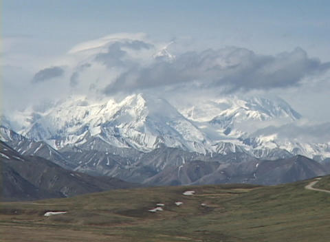 Time Lapse shot of Mt. McKinley, Alaska Stock Video Footage