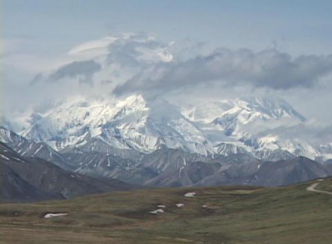 Time Lapse shot of Mt. McKinley, Alaska Stock Video Footage