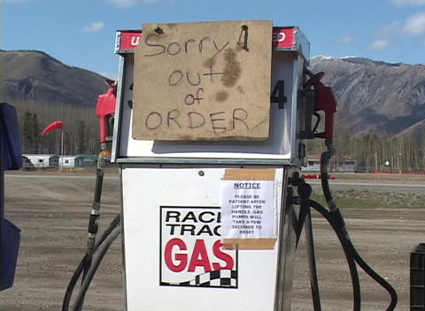 A gas pump displaying an out-of-order sign Stock Video Footage