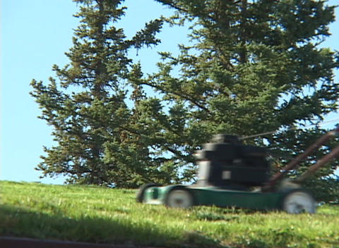A man uses a lawnmower to mow grass Footage