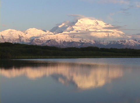 Mt. McKinley in Denali National Park, Alaska at sunset Stock Video Footage