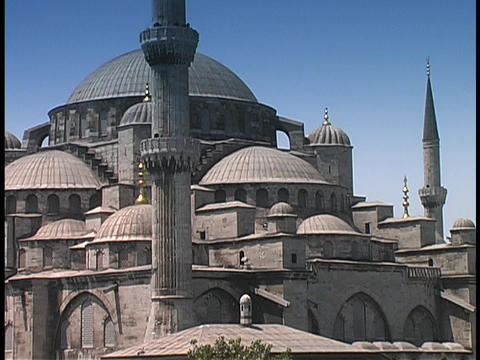 The Blue Mosque rises above Istanbul, Turkey Stock Video Footage