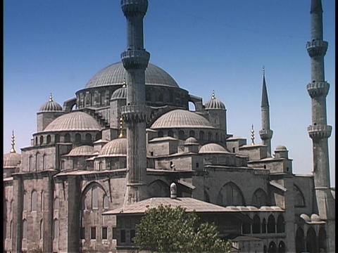 The Blue Mosque rises above Istanbul, Turkey Footage