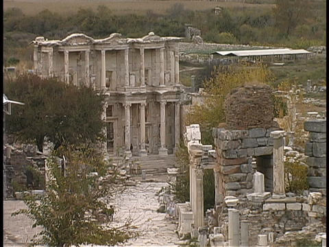 The Celsius Ruin resides in Ephesus, Turkey Stock Video Footage