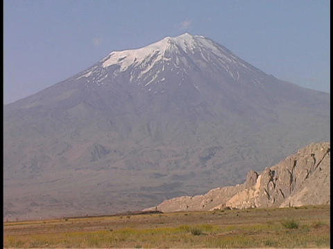 Snow covers the peak of Mount Ararat in Turkey Stock Video Footage
