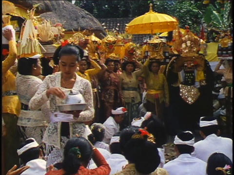 People participate in a religious ceremony Footage