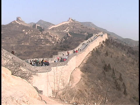 Tourists visit the Great Wall of China Stock Video Footage
