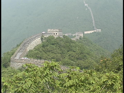 The Great Wall of China stretches across a mountain range Stock Video Footage
