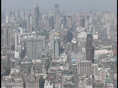 Skyscrapers rise above Shanghai, China Stock Video Footage