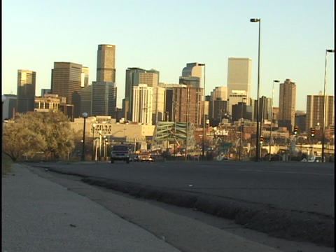 Traffic passes by on a highway leaving the Denver,... Stock Video Footage