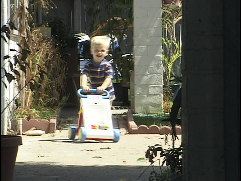 A toddler pushes a walk-behind toy Live Action
