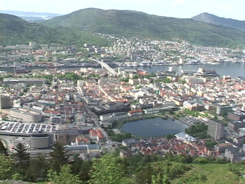 An inlet divides the city of Bergen, Norway Footage