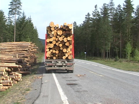 A logging truck pulls away from a log pile on the side of a road Footage