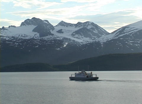 Following-shot of a boat in Alaskan waters Stock Video Footage