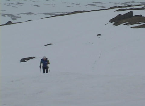 Following-shot of a cross country skier striding up a... Stock Video Footage