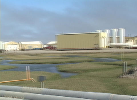 Panning-shot across pipes at a Halliburton facility in Alaska Footage