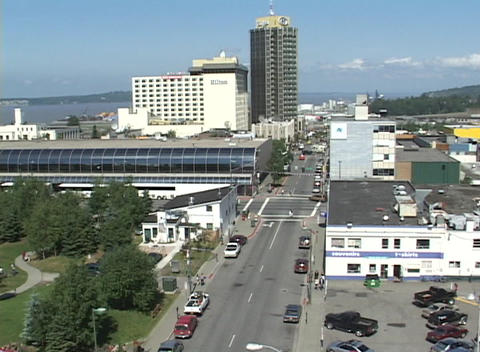 A high angle establishing shot of downtown Anchorage Alaska Stock Video Footage