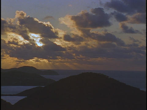 Clouds drift over a chain of Caribbean islands Stock Video Footage