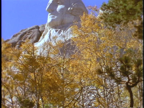 George Washington's head appears above autumn leaves at Mount Rushmore Footage