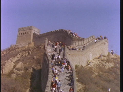 People walk on the Great Wall of China Stock Video Footage