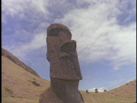 A time lapse shot of the mystical Easter Island statues Stock Video Footage