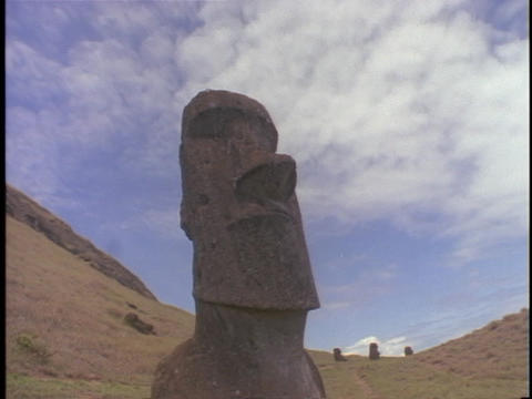 A time lapse shot of the mystical Easter Island statues Footage