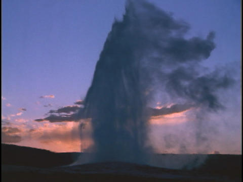 Old Faithful erupts at Yellowstone National Park Stock Video Footage