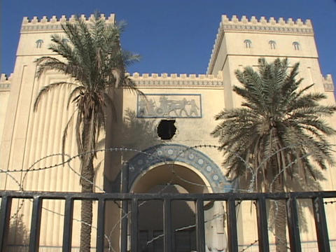The Iraqi National museum in Baghdad is closed after it... Stock Video Footage